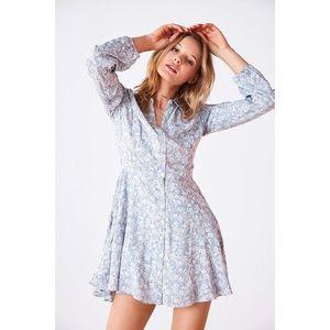 UO Kimchi Blue Sabrina Floral Long Sleeve Dress